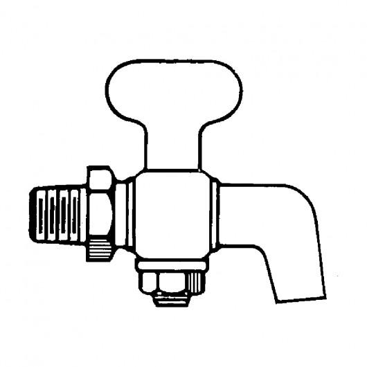"1/8"" Air and Steam Cock-Tee Handle-Bibb Drain-Hex Shoulder"