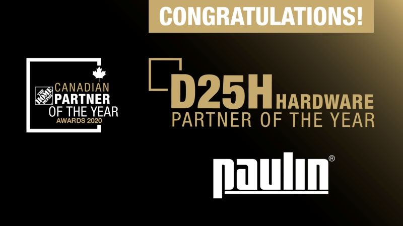 Hillman Canada's Paulin Team Wins Home Depot's Partner of Year Award